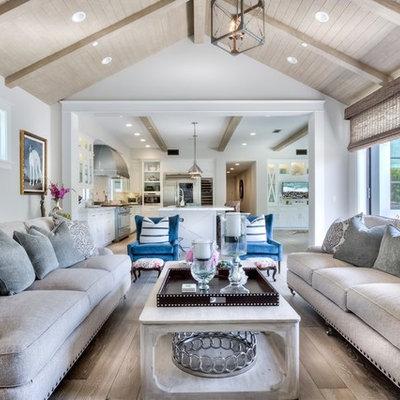Farmhouse living room photo in Orange County
