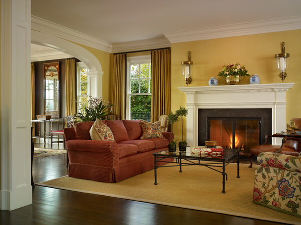 Traditional Living Room by Charter Construction