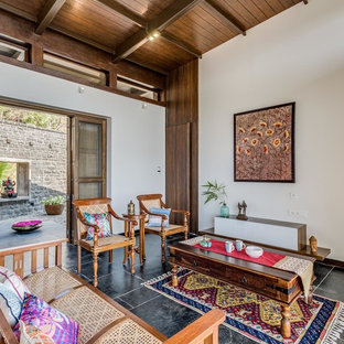 Inspiration For A Zen Open Concept Living Room Remodel In Pune With White  Walls