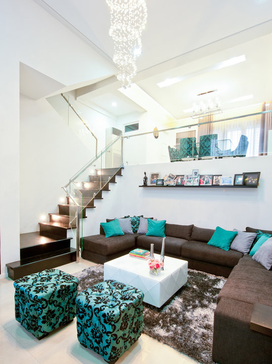 Turquoise And Brown Living Room turquoise and brown | houzz