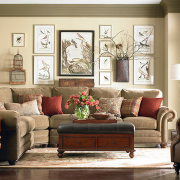 HGTV Home Custom Upholstery Large Curved Corner Sectional by Bassett Furniture