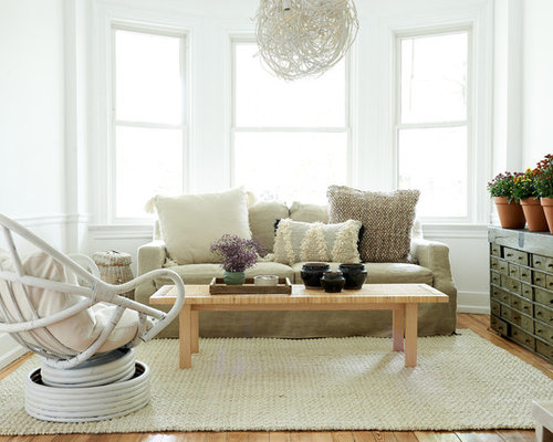 Country Medium Tone Wood Floor And Brown Living Room Photo In Other With White Walls