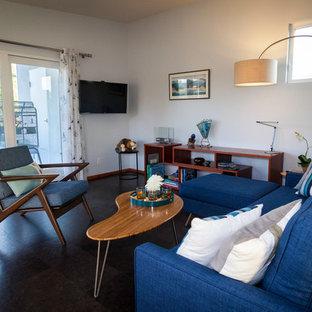 Esempio di un soggiorno contemporaneo di medie dimensioni e stile loft con pavimento in sughero