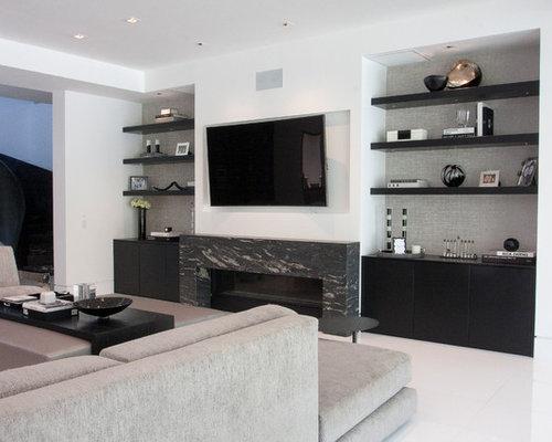 Wohnzimmer mit gefliestem kaminsims und marmorboden ideen design bilder beispiele - Marmorboden wohnzimmer ...