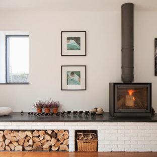 Design ideas for a contemporary living room in Devon.