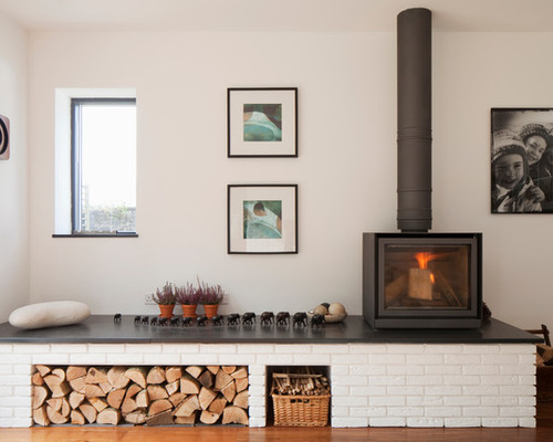 Wood burning stove tile houzz - Living room with wood burning stove ...