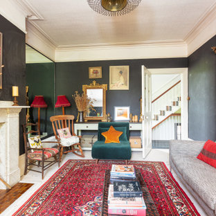 Large eclectic enclosed living room in Sussex.