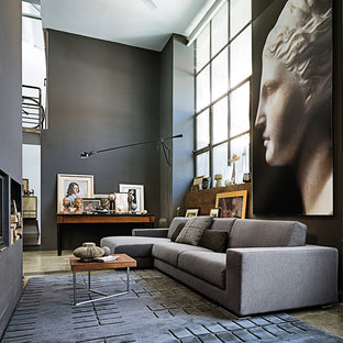 Salon avec un mur gris Cheshire : Photos et idées déco de salons