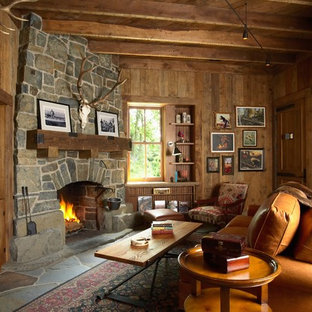 Example Of A Mountain Style Living Room Design In Minneapolis With Corner Fireplace And
