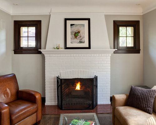 Living Room With Brick Fireplace white brick fireplace | houzz