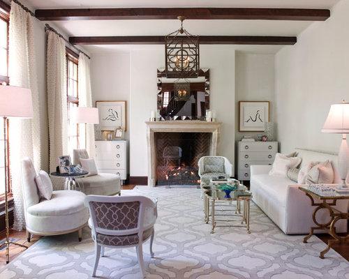 Trendy Dark Wood Floor Living Room Photo In Houston With White Walls