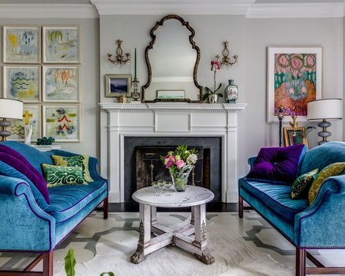 Example Of An Eclectic Formal Painted Wood Floor And Multicolored Living Room Design In Richmond