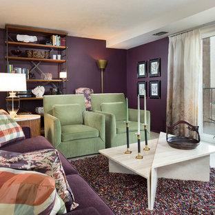 クリーブランドの中サイズのトランジショナルスタイルのおしゃれなLDK (紫の壁、カーペット敷き、暖炉なし、テレビなし、フォーマル、白い床) の写真