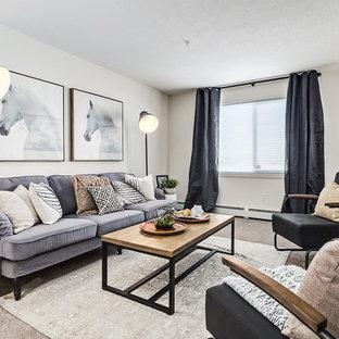 Immagine di un piccolo soggiorno scandinavo aperto con sala formale, pareti bianche, moquette, nessun camino, nessuna TV e pavimento beige