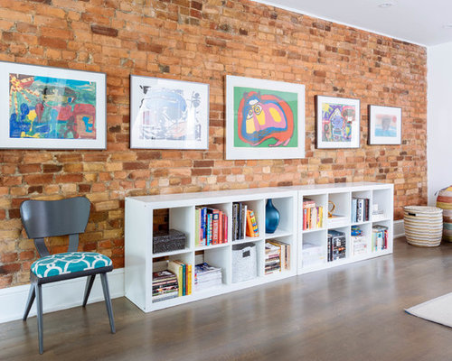 Mid Sized Eclectic Open Concept Living Room Idea In Toronto With White Walls Medium