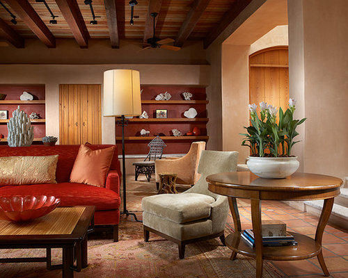 Beach style living room design ideas renovations photos with terra cotta floors for Terracotta living room ideas