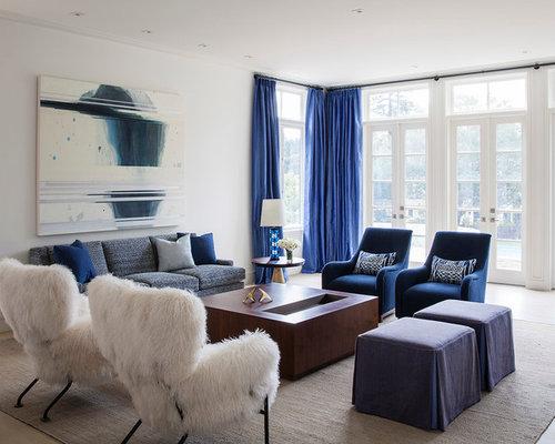 Cobalt blue living room design ideas remodels photos for Cobalt blue living room