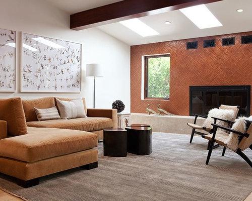 Orange Wall Living Room. Living room  contemporary living idea in San Francisco with orange walls a standard 70 Best Room Orange Walls Ideas Houzz