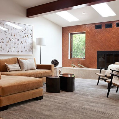 Living room - contemporary living room idea in San Francisco with orange walls, a standard fireplace and a metal fireplace