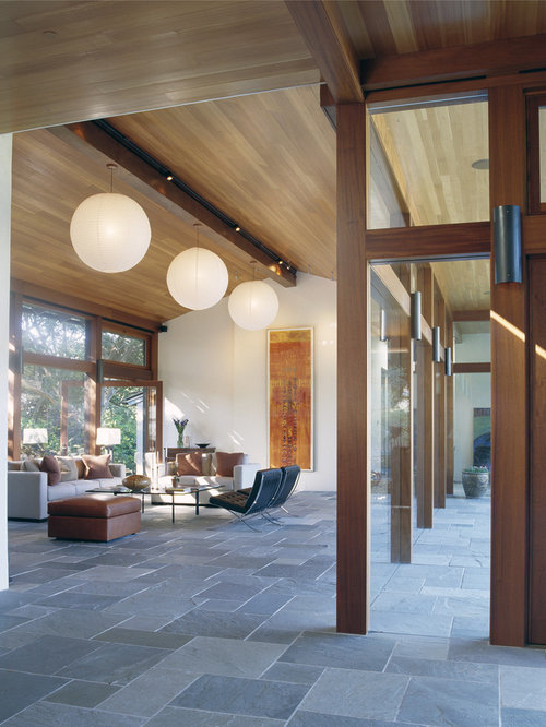 Inspiration For A Modern Open Concept Living Room Remodel In San Francisco With Slate Floors And