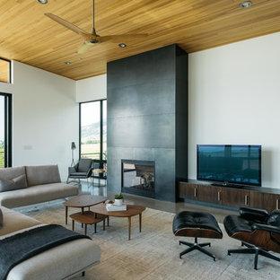 Ejemplo de salón abierto, contemporáneo, de tamaño medio, con paredes blancas, suelo de cemento, chimenea tradicional, marco de chimenea de metal, televisor independiente y suelo gris