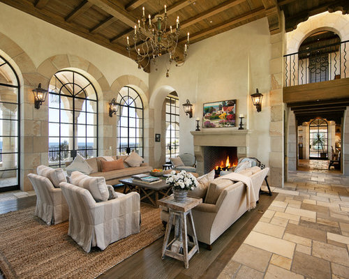 Living Room   Mediterranean Beige Floor Living Room Idea In Santa Barbara  With White Walls And