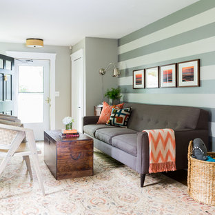 Transitional formal living room photo in Boston with multicolored walls