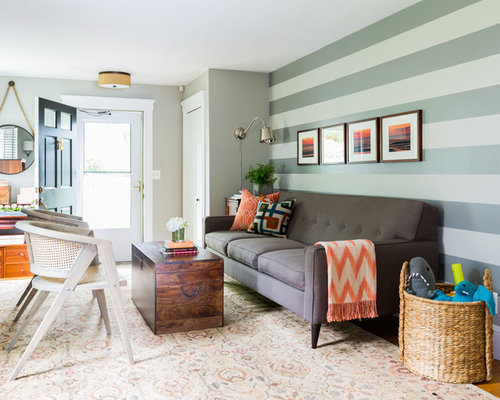 Transitional Living Room Design Ideas Renovations Photos With Multi Coloured Walls