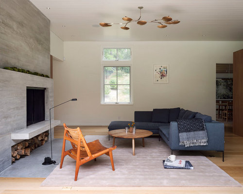 Inspiration For A Contemporary Open Concept Medium Tone Wood Floor And  Brown Floor Living Room Remodel
