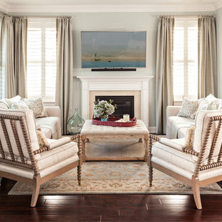 Example Of A Small Coastal Open Concept Dark Wood Floor Living Room Design  In Boston With