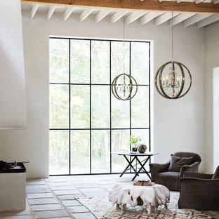 Inspiration för ett mellanstort medelhavsstil allrum med öppen planlösning, med ett finrum, vita väggar, klinkergolv i terrakotta och flerfärgat golv