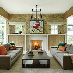 Huge trendy formal and open concept living room photo in Chicago with a standard fireplace and a concrete fireplace