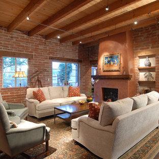 Inspiration för mellanstora amerikanska allrum med öppen planlösning, med ett musikrum, en standard öppen spis, röda väggar och mörkt trägolv
