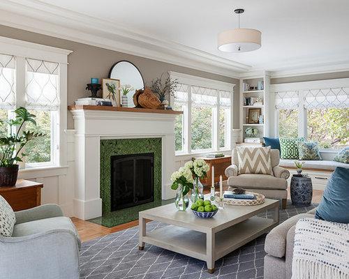Elegant Medium Tone Wood Floor And Brown Floor Living Room Photo In San  Francisco With Gray Part 37