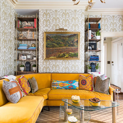 Inspiration for an eclectic formal and enclosed carpeted and multicolored floor living room remodel in New York with multicolored walls