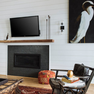 Living room - transitional shiplap wall living room idea in Houston with white walls, a standard fireplace and a shiplap fireplace