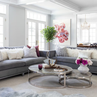 Coastal Open Concept Living Room Photo In New York With Gray Walls