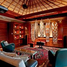 Tropical Living Room by Fine Design Interiors, Inc