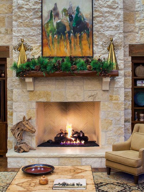 Rock-faced Fireplace | Houzz