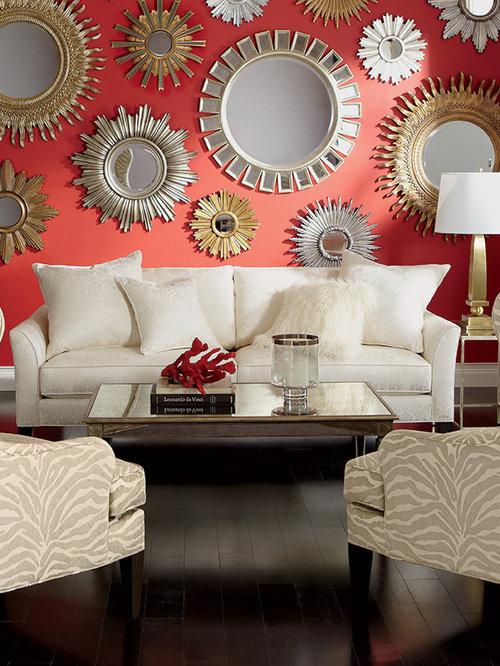 Foto e idee per living living shabby chic style con - Pareti rosse soggiorno ...