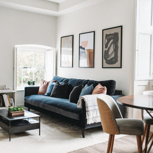 Design ideas for a traditional open plan living room in Other with white walls, light hardwood flooring and beige floors.