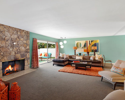 1950s Open Concept Living Room Idea In Orange County With Blue Walls Carpet A