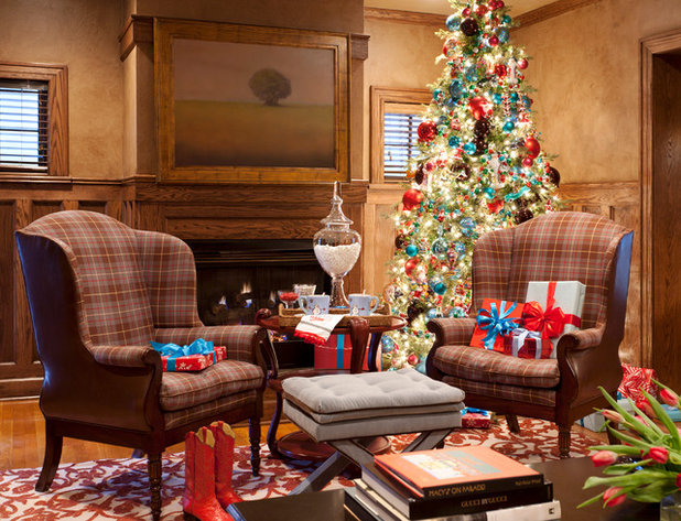 traditional living room by tobi fairley interior design - Orange Coloured Christmas Tree Decorations