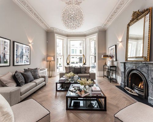 Inspiration For A Traditional Formal Living Room In London With Beige Walls Light Hardwood Flooring