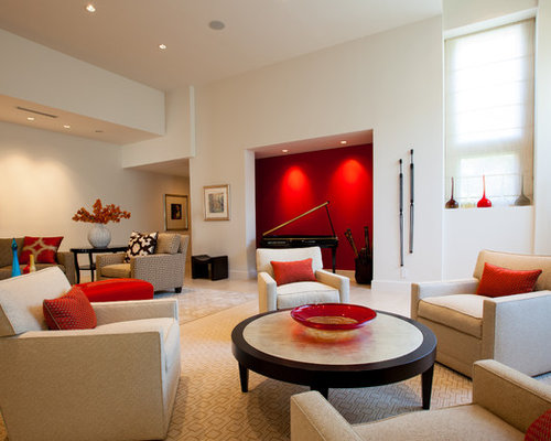 Marvelous Inspiration For A Contemporary Living Room Remodel In Dallas With A Music  Area And White Walls Part 13