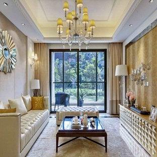 Imagen de salón para visitas cerrado, de estilo zen, grande, sin chimenea y televisor, con paredes beige y moqueta
