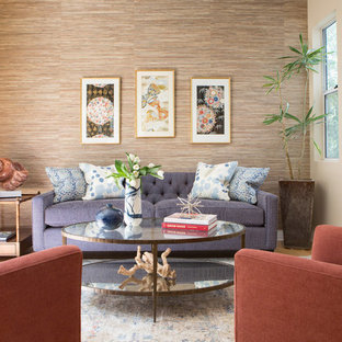 Example of a mid-sized transitional open concept light wood floor living room design in Los Angeles with beige walls, no fireplace and no tv