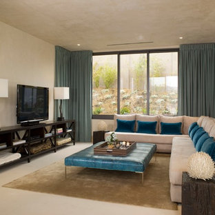 Living room - contemporary living room idea in Los Angeles with beige walls and a tv stand