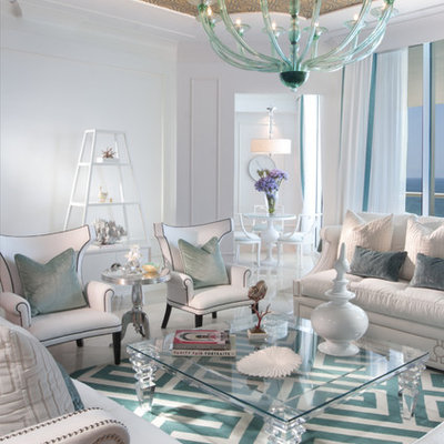 Trendy living room photo in Miami with white walls
