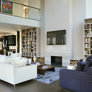 Beautiful Example Of A Mid Sized Minimalist Open Concept And Formal Slate Floor  Living Room Design